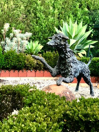 sensory garden dog sculpture